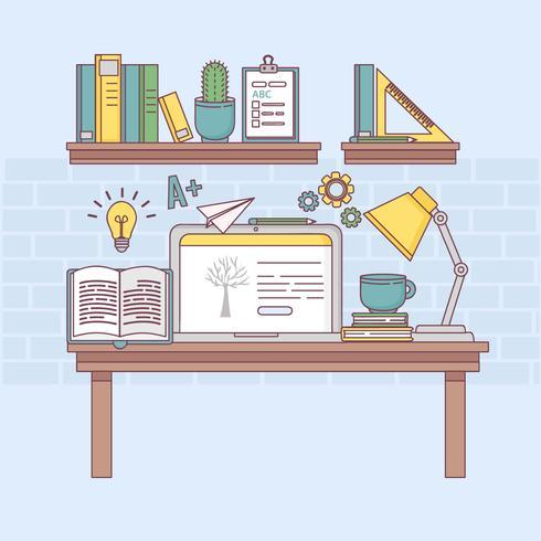 Illustration d'apprentissage en ligne de vecteur