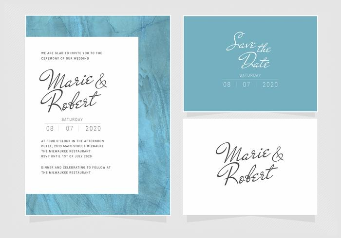 Vector Blue Wedding Invitation