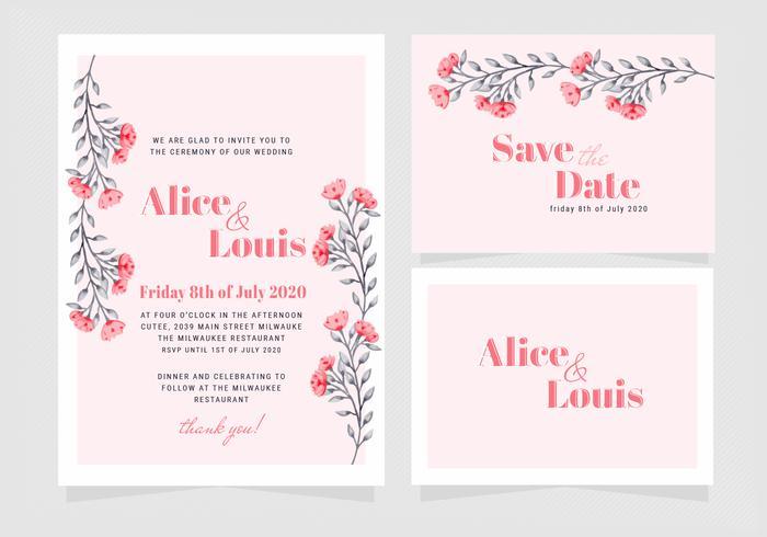 Invito a nozze floreale rosa di vettore