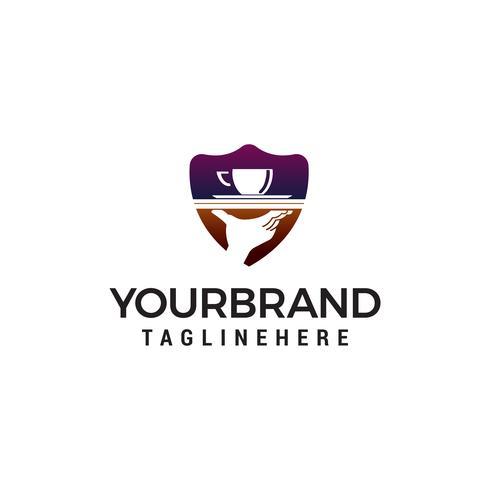 vettore del modello di concetto di progettazione di logo della mano di caffè