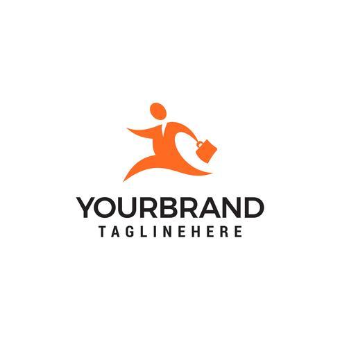 Zakenman met zak logo-ontwerp. Mensen Bedrijfslogo ondertekenen Desi