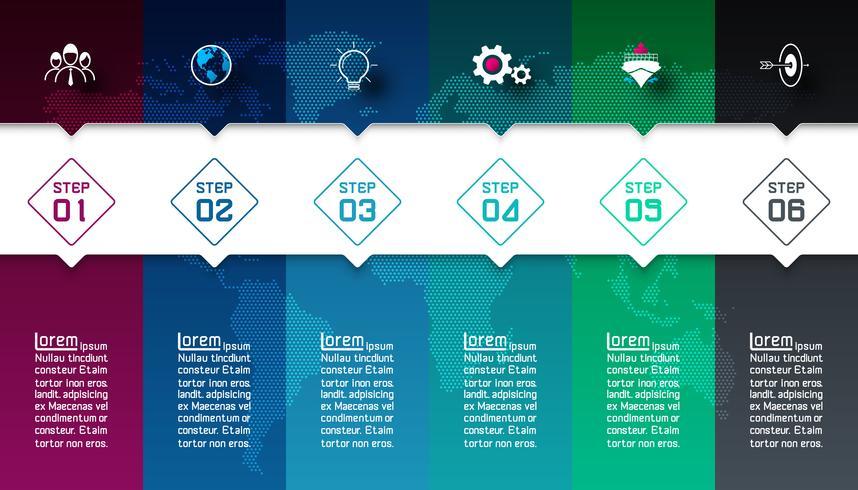 Barras coloridas com infográficos de ícone de negócios. vetor