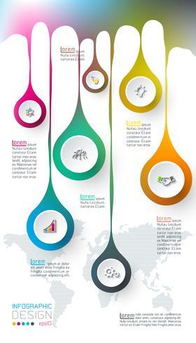 Sette cerchi con infografica icona aziendale su sfondo di mappa del mondo