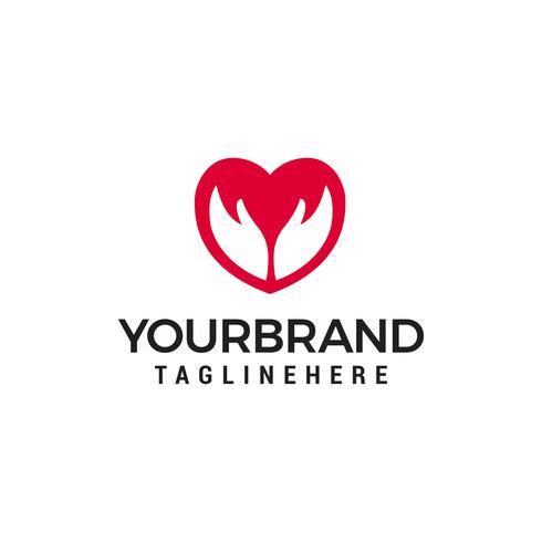 liefde hand logo Logo sjabloon vector pictogram ontwerp