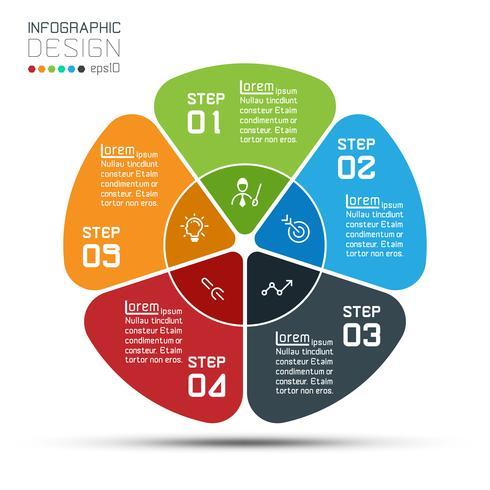 Círculo de negócios rótulos forma barra de grupos de infográfico. vetor