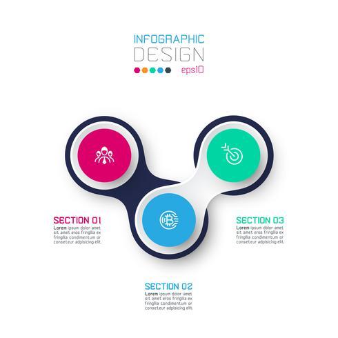 Círculo vinculado con infografías de iconos de negocios sobre fondo blanco. vector