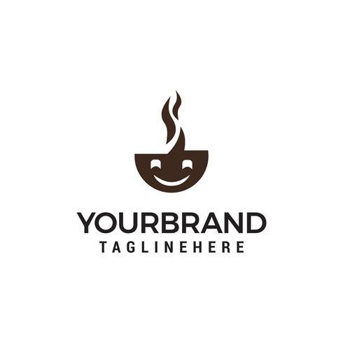 sonrisa café Logo diseños plantilla vector