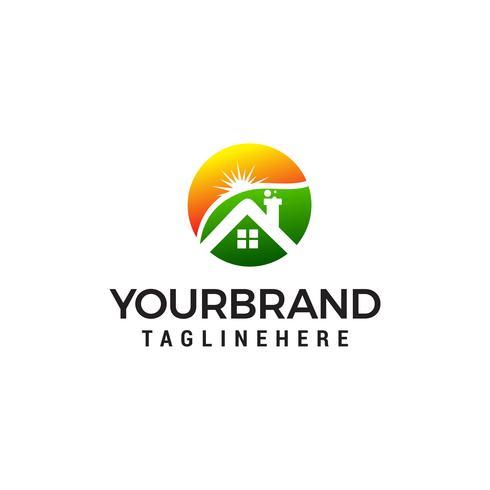 Inicio y sol logo diseño concepto plantilla vector