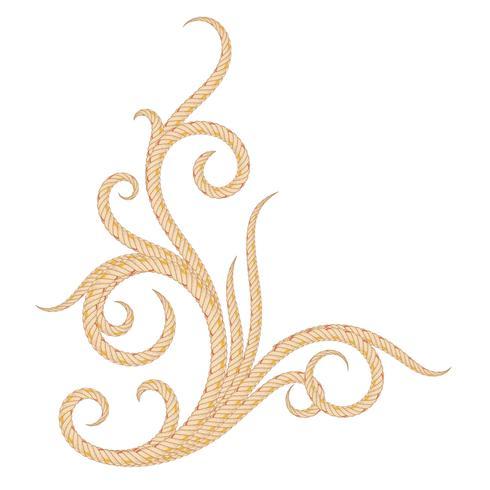 Elemento de diseño hermoso ornamental floral doblado de cuerda.