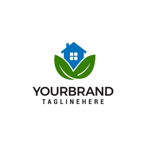 House leaf green logo design concept template vector