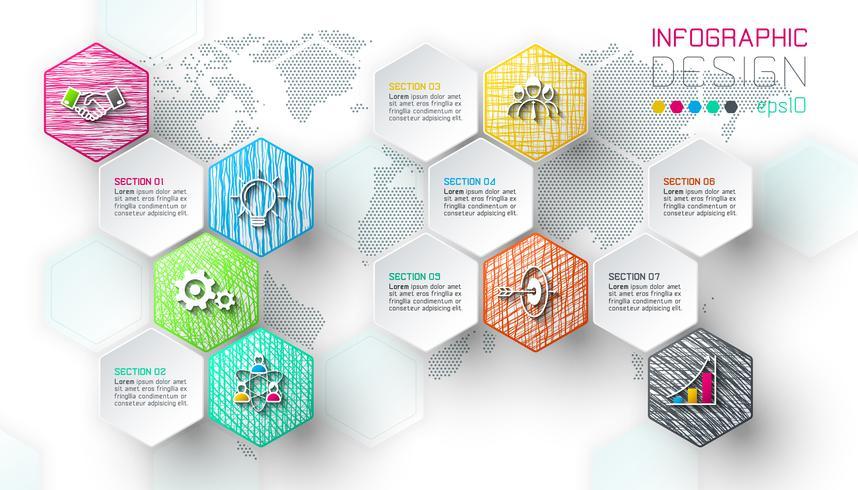 As etiquetas líquidas do hexágono do negócio dão forma à barra infographic.