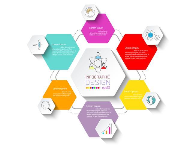Infografía de negocios con 6 pasos.