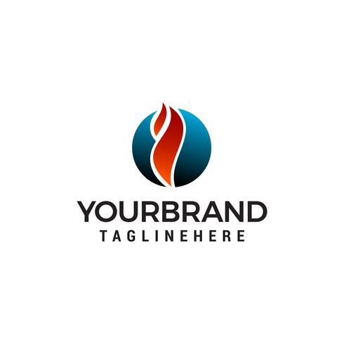 Vuur cirkel logo ontwerp concept sjabloon vector