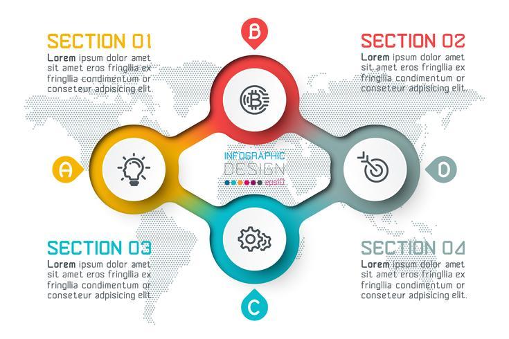 Quatro círculos com infográficos de ícone de negócios. vetor