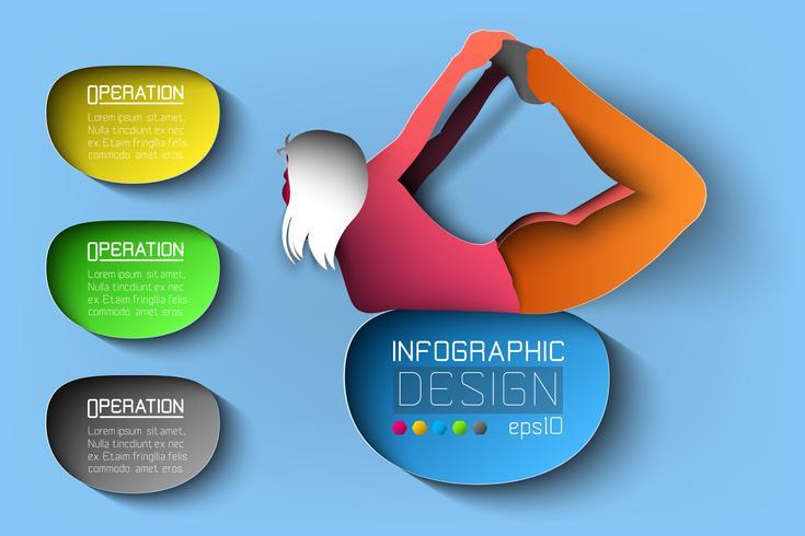 Posizione di yoga della ragazza della siluetta sull'illustrazione infographic.