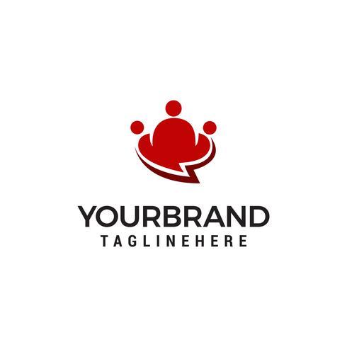 Modelo de Design de logotipo de bate-papo de pessoas do grupo vetor