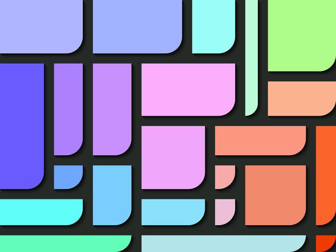 Rechthoekkleuren met één kant van rond de hoek abstracte achtergrond.