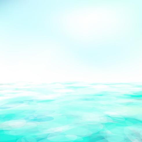 Fundo abstrato da natureza com oceano azul e o céu nebuloso azul. vetor
