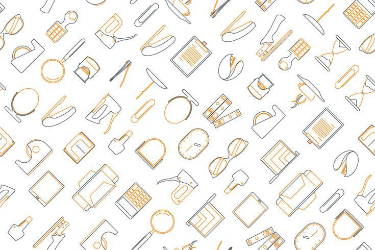 Clip-art de elementos de escritório organizar em plano de fundo transparente. vetor