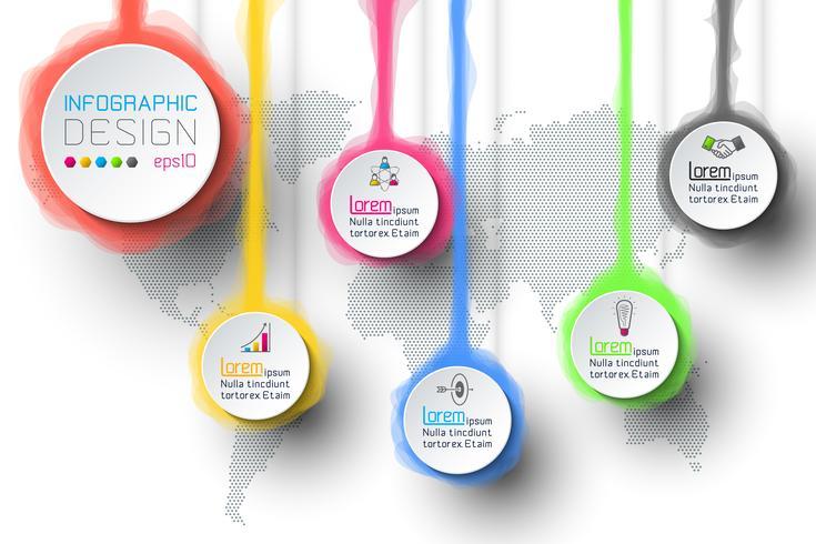 Aquarel infographic met de wereldkaart.
