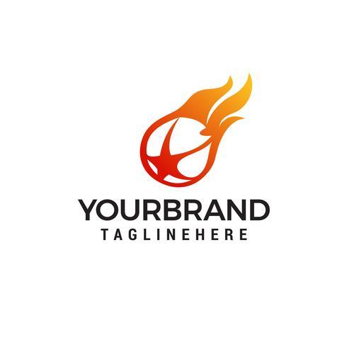 Flaming ball star logo design template Vectors