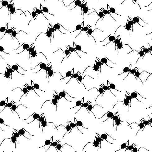 Hormigas negras en el fondo inconsútil blanco. vector