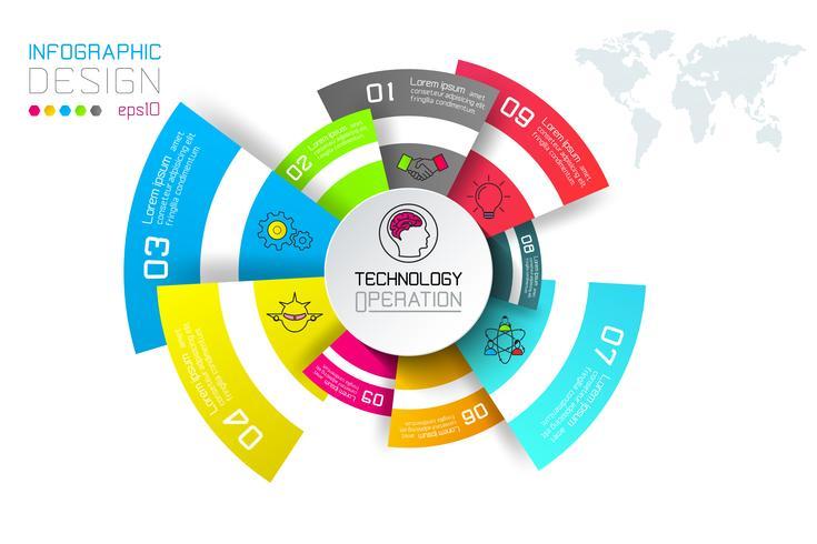 Etiquetas de negocios infografía en la barra de círculos.