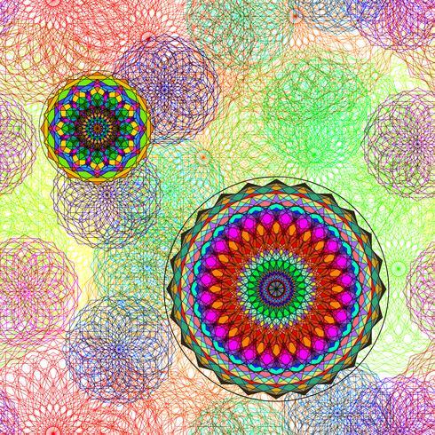 Teste padrão geométrico com linha de cor do círculo na arte gráfica de vetor. vetor