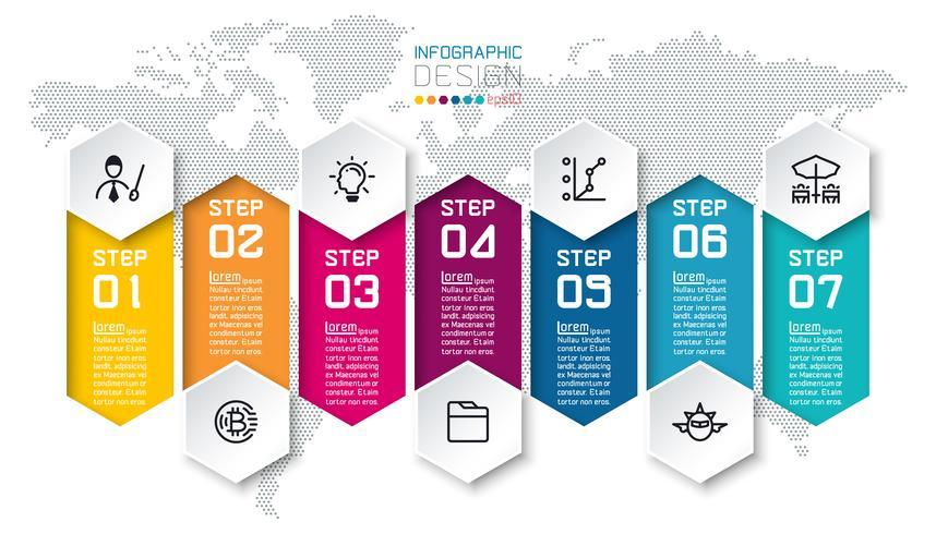 Sete barras coloridas com infográficos de ícone de negócios. vetor