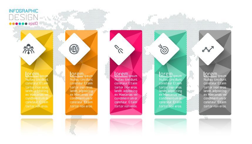 Infografía poligonal de negocios con 5 pasos.