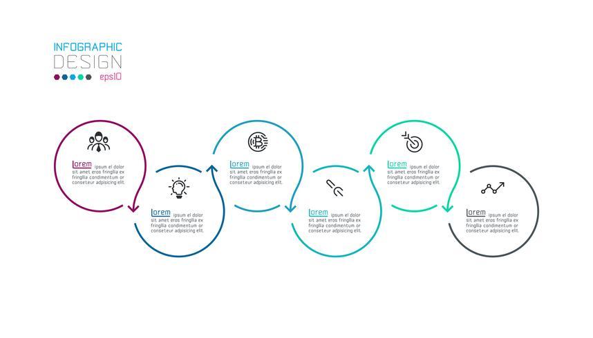 Infográfico de rótulo de círculo com passo a passo.