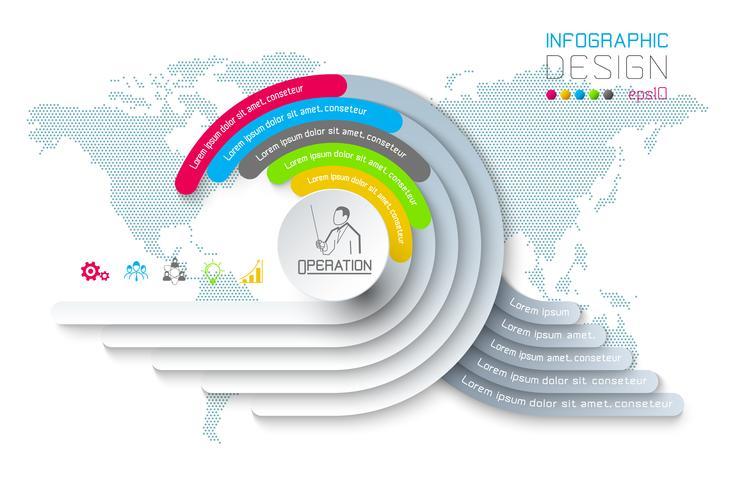 Cirkelorigami de bedrijfs van Infographics met de vectorillustratie van de schaduwstijl.