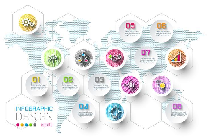 Business-Infografik mit 8 Schritten.