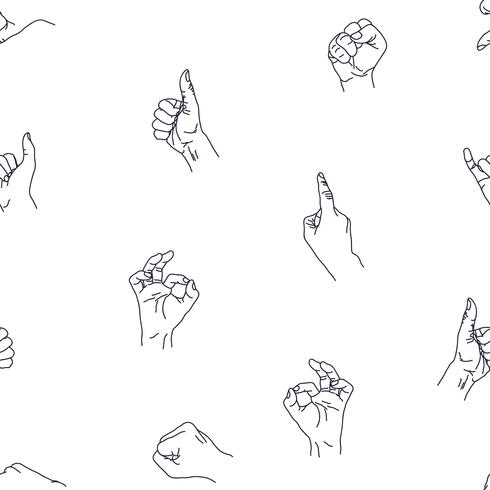 Mãos gesto fundo sem emenda. vetor