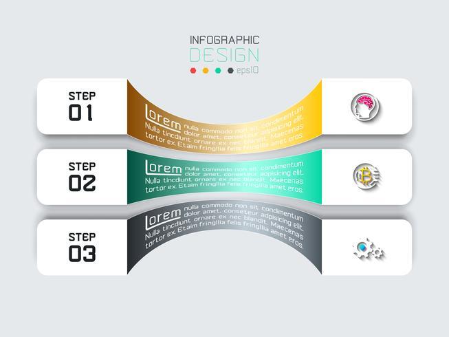 Barras horizontais com infográficos de ícone de negócios. vetor