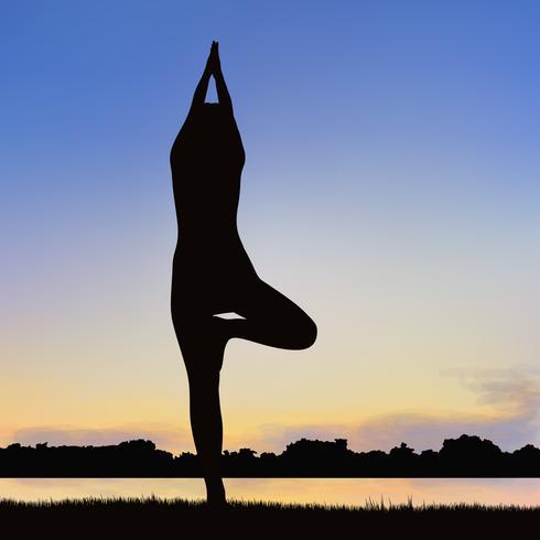 Imagen de la silueta de la dama en la postura del yoga. vector