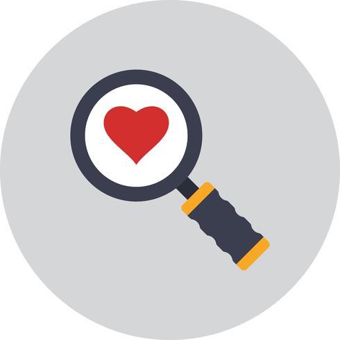 Ícone de coração de pesquisa de vetor
