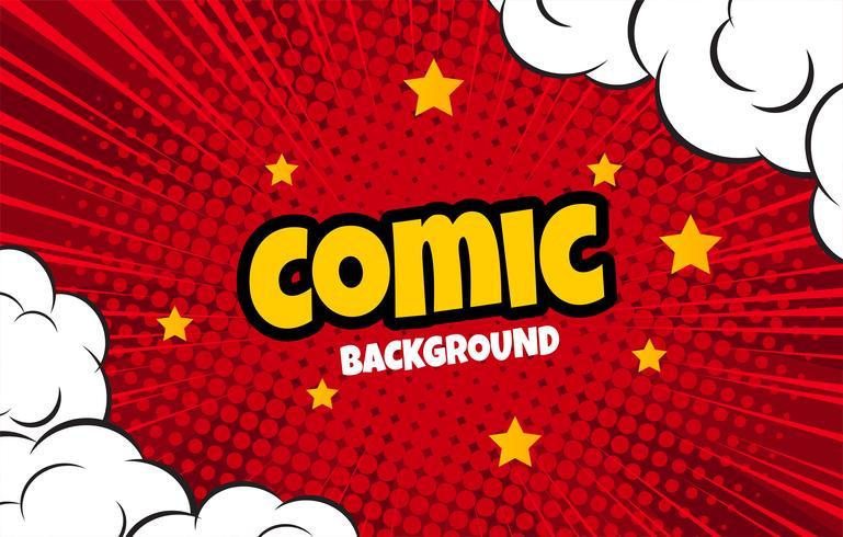 Vetor de fundo de meio-tom em quadrinhos vermelho