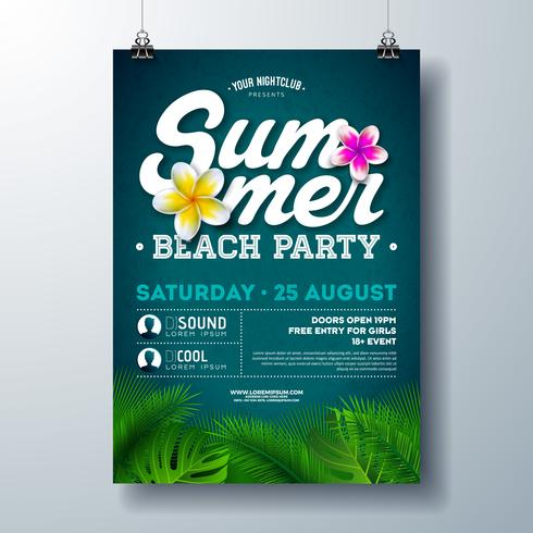 Vector Summer Beach Party Flyer Design with Flower and Tropical Palm Leaves on Blue Background. Summer Holiday Illustration with Exotic Plants