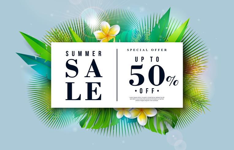 Tropical Vector Special Offer Illustration with Typography Letter