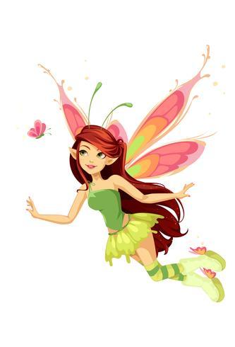 Fada borboleta voadora vetor