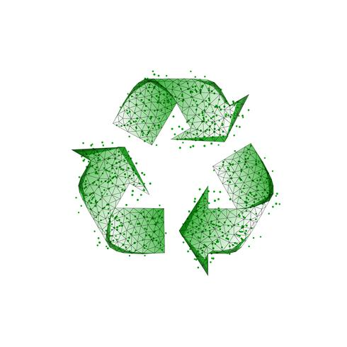 Green recycle sign made of lines, dots, triangles, low poly shapes isolated on white background. vector
