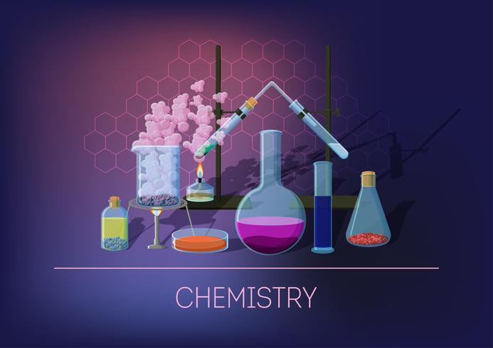 Concepto de química con material químico y cristalería.