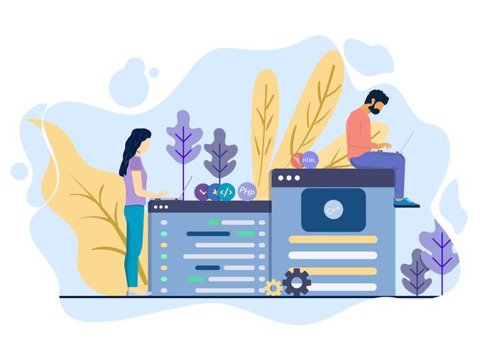 Homens e mulheres desenvolvem um site juntos vetor