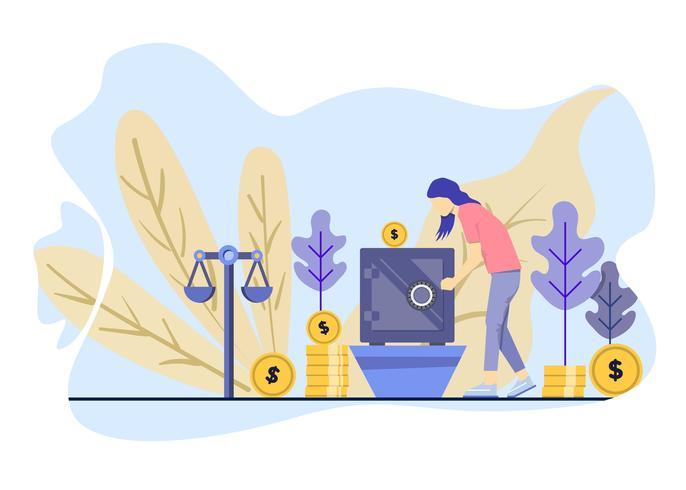 As mulheres investem seu dinheiro na caixa. Ilustração vetorial vetor