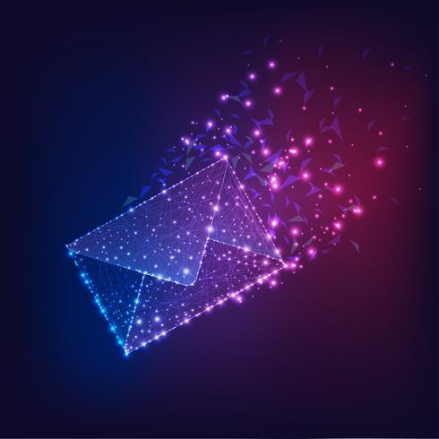 Futuristic flying electronic envelope, email on dark gradient blue to purple background.