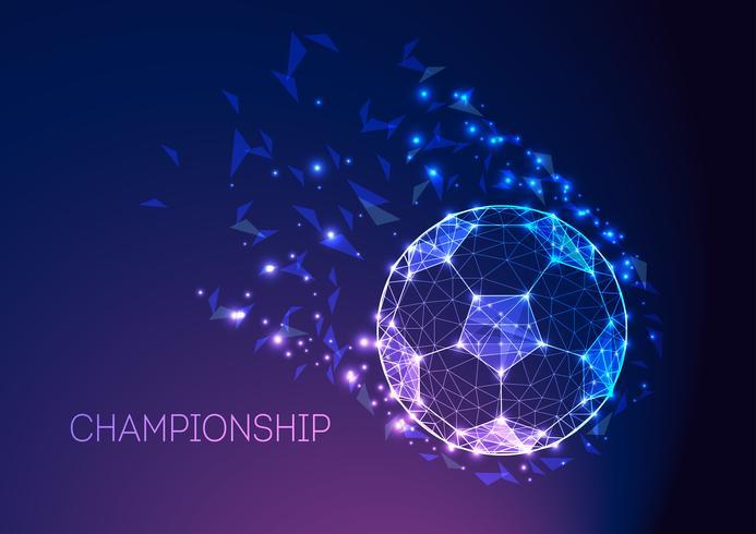 Fußballmeisterschaftskonzept mit futuristischem Fußball auf dunkelblauem purpurrotem Steigungshintergrund.