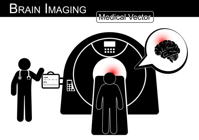 Brain Imaging .  Patient lie on CT scanner for diagnosis of brain disease  vector