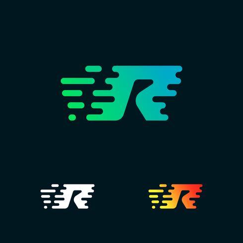 letra R moderna velocidade formas logo design vector