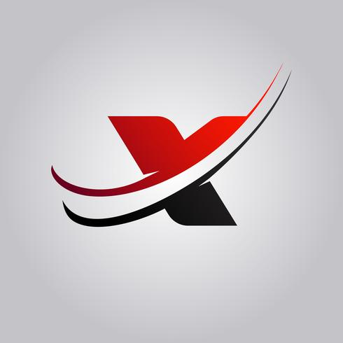 Logotipo inicial de X Letter con swoosh de color rojo y negro. vector